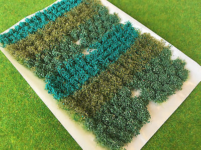 Dark Green Flowers & Bushes Mix - Static Grass Tufts Model Scenery Railway tree