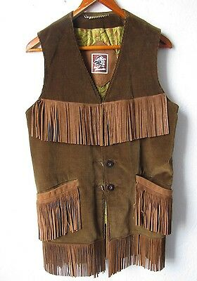 Men's 70's Hippy Vest Mighty Mac Out O' Gloucester Corduroy Leather Fringe 44