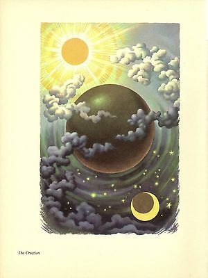 "1956 Vintage BIBLE ""THE CREATION"" by STEELE SAVAGE Color Art Lithograph"