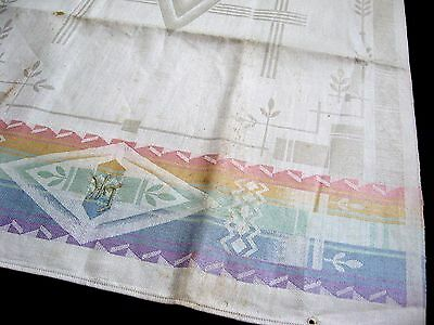 old linen damask kitchen Towel / Runner Art Deco design with rainbow colours