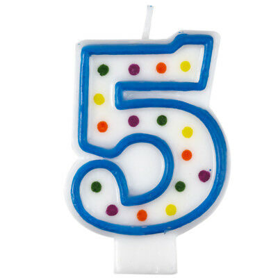 Polka Dot Candle 5 Quality Kids Birthday Cake Age Number Cute Decoration Amscan