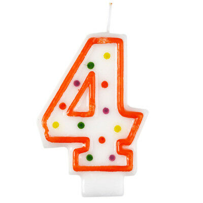 Polka Dot Candle 4 Quality Kids Birthday Cake Age Number Cute Decoration Amscan