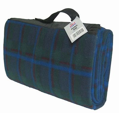 GREEN.Blue Tartan  Picnic Rug Camping Travel Mat,caravan Beach waterproof back