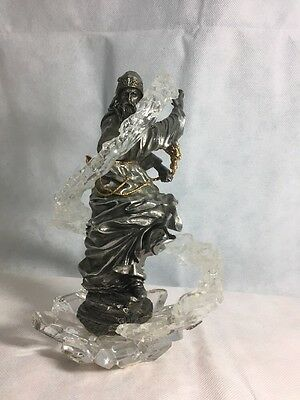Franklin Mint Pewter Dragon Wizard Sculpture 24k Gold And Crystal RARE!
