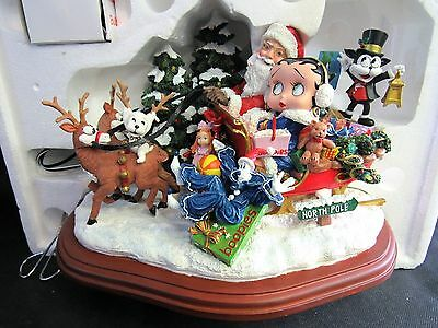VERY RARE Danbury Mint Betty Boop Christmas Sleigh Ride with Santa and Friends