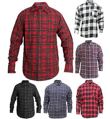Mens Plaid Flannel Lumberjack Tartan Check Shirt Brushed Cotton Casual Top S-2XL