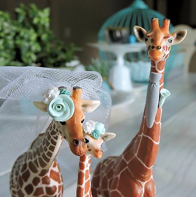Modified Schleich Giraffe Family Lot Wedding Day Cake Topper Cute and Fun Curio