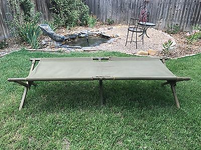 "Vintage US Military Large Green Wood/Metal Folding Cot~26 1/2~Name ""Fox""~Camping"