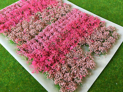 Pink Flowers & Bushes Mix - Static Grass Tuft Model Scenery Railway Garden leaf