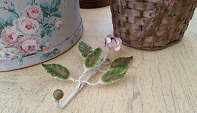 Vintage Italian ? Tole White Pink Rose Hook Shabby Victorian French Country