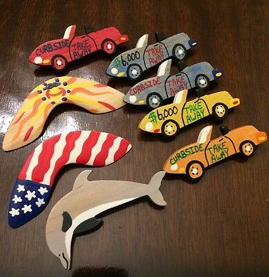 Set Of 8 Outback Steakhouse Wooden Pin Flare Take Away Car Boomerang Dolphin