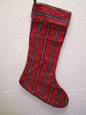 Handmade Guatemalan Fabric Red Christmas Stocking - Guatemala