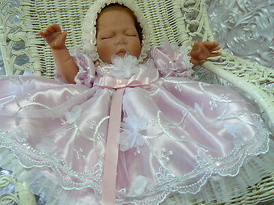 Newborn Dress Pink 3D Petal On Tulle 4 Reborn Or Baby Victorian Pageant Baptism