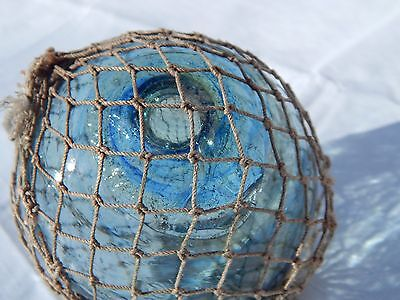 "Japanese Fishing Float with UNIQUE Net BLUE EYE SWIRL Seal. 3 1/2"". LOT 2"