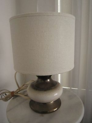 Vintage Retro Bronze & Ivory Ceramic Base Table Lamp With Shade