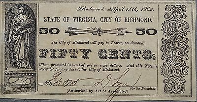 1862 50c Fifty Cents State of Virginia Fractional Currency, AU