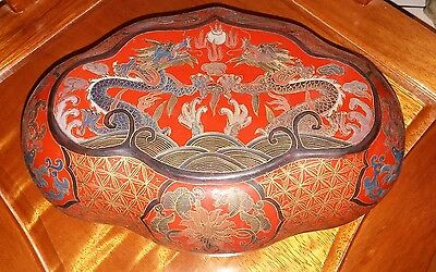 ANTIQUE 19C CHINESE WOOD LACQUER PAINTED HEXOGONAL JEWERLY BOX FLOWERS 10x4x7in
