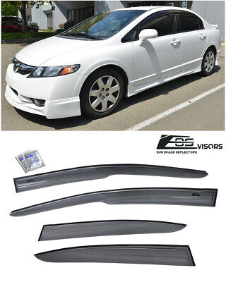 For 06-11 Civic JDM Sedan 4Dr Side Window Visors MUGEN 2 Rain Guard Deflectors