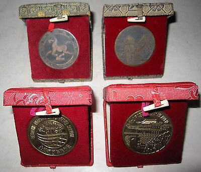 """(2) Each """"Great Wall of China"""" & """"No. 1 Pass"""" Souvenir Medallions in Silk Boxes"""