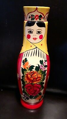Russian Lady Matryoshka Nesting Doll bottle holder hand painted RODNIK VODKA