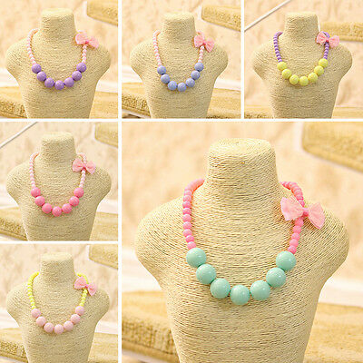 Girls Princess Multi-color Acrylic Beads Necklace Cute Bowknot Children Jewelry