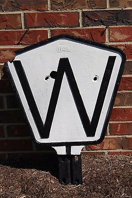 Antique N&W Railroad Cast Iron Whistle Post Sign