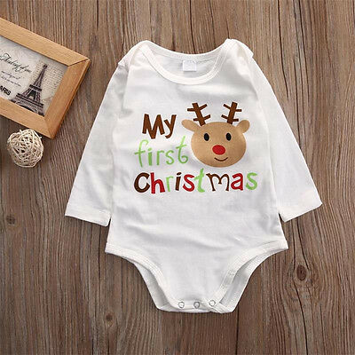 Fashion My 1st Christmas Newborn Baby Boy Girls romper Bodysuit Jumpsuit Outfit