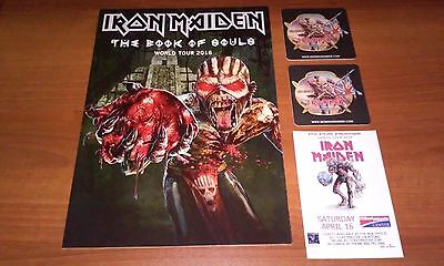 NEW Iron Maiden 2016 Book of Souls Tour Program Poster w Trooper beer mats