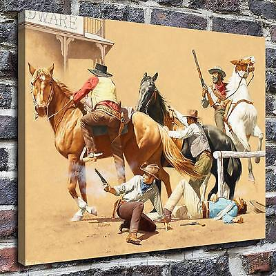 "12""x16""Western shootout Painting HD Print on Canvas Home Decor Wall Art Pictures"