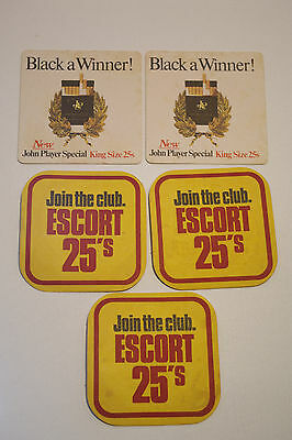 Collectable Vintage Retro Beer Coaster John Player Special & Escort 25s Set of 5