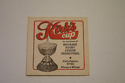 Collectable Vintage Beer Coaster Kirks Cup Brisbane QLD Rugby League Grand Final