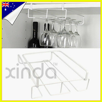2pcs Nail Free Wine Glass Hanging Iron spray Holder Under Cabinet  Bar Shelf OZ