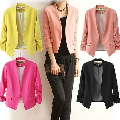 Candy Color Fashion Women Casual Slim Solid Suit Blazer Coat Jacket Outwear