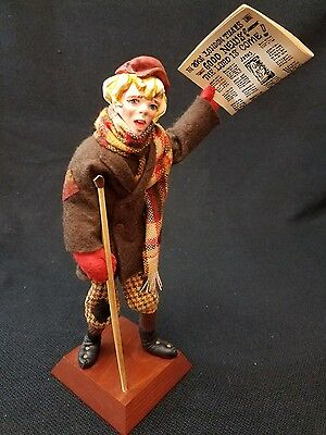 Vintage SIMPICH Character Doll Newsboy Rare With Crutch And Newspaper 10""