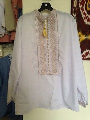 New Men's Ukrainian Embroidered White Shirt, Gold And Silver, Size L / XL