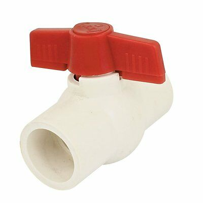 32mm x 32mm Slip Ends Two Way Ports PVC Ball Valve White Red