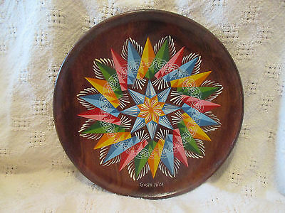 Vintage Hand Painted Round Wood Serving Tray -  Costa Rica