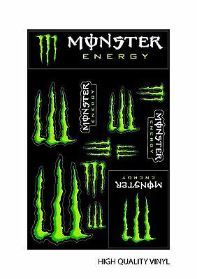 Monster Energy Drinks Logo Sheet of 12 Stickers Decals ATV/Bike/Scateboard