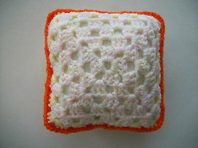 Mini Crochet Square Cushion/Pillow,Dolls house,Pincushion,Decorative,Yellow,5""