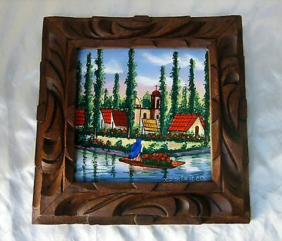 Vintage Handpainted Pictorial Tile w/Mexican Scene in Carved Wood Frame Folk Art