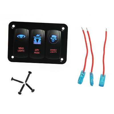 Marine Boat 3 Gang Car Switch Panel  Blue LED Light On-off Rocker Switch 12-24V