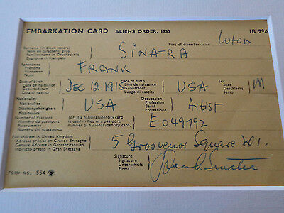 Frank Sinatra Autograph July 1966 Signed And Handwritten Airline Card