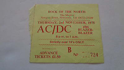 Ac Dc Vintage Concert Ticket Newcastle Mayfair 2Nd November 1978
