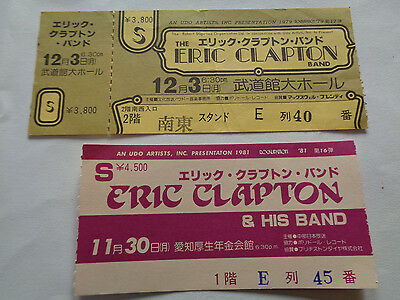 Eric Clapton Two Vintage Japanese Concert Tickets