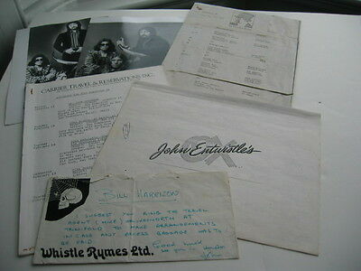 The Who John Entwistle Signed Note + Collection Of Photos .tour Paperwork Etc