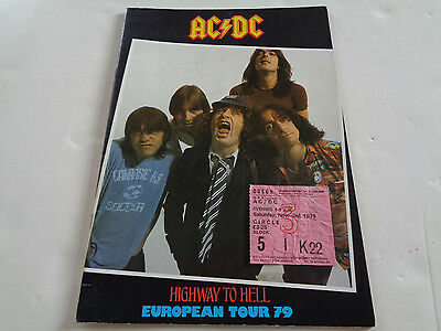 Ac/dc 1979 Uk Concert Programme + Ticket For The Hammersmith Odeon Nov 3Rd Show