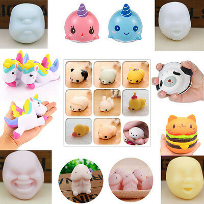 Colossal Squishy Unicorn Face Whale Seel Dingding Slow Rising Cartoon Fun Toy