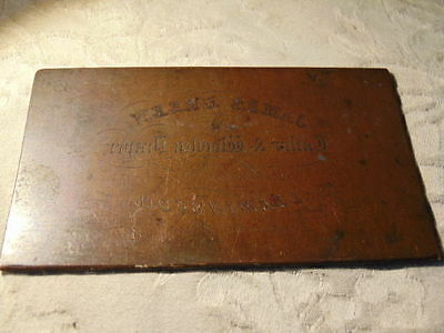 19Th Century Copper Printing Plate James Green Tailor Woolen Draper Leamington