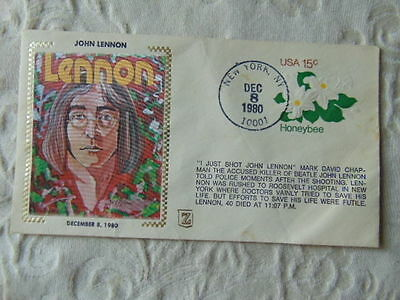 John Lennon Death Fdc First Day Cover Woven Picture 1980 Stamped New York