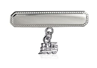 Baby Boys Rectangular 925 Sterling Silver Baby Brooch With 'train' Charm Drop